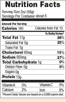 Nutrition facts for Beef Summer 12 & 20 oz.
