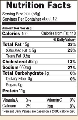 Nutrition facts for Black Knight Beef Summer 24 oz.