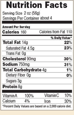 Nutrition facts for Braunschweiger 8 oz.