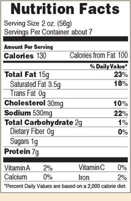Nutrition facts for Garlic Ring Bologna 14 oz.