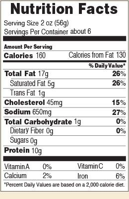 Nutrition facts for Garlic Summer 12 & 20 oz.
