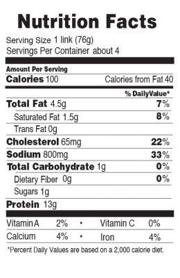 Nutrition facts for 100 Calorie Pepper Jack Chicken Bratwurst 10.7 oz.