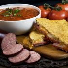Summer Sausage Grilled Cheese with Tomato Soup