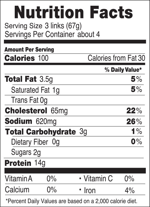 Nutrition facts for 100 Calorie Chicken Breakfast Sausages Maple
