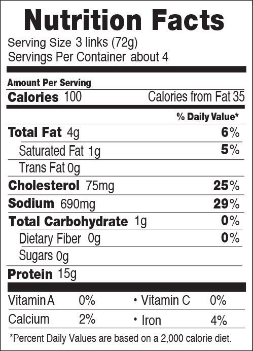 Nutrition facts for 100 Calorie Chicken Breakfast Sausages Original